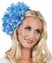 Carnavalskleding spaanse bloem haarklem blauw helmond