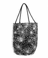 Carnavalskleding spinnenweb tas zilveren opdruk helmond