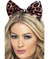 Carnavalskleding strik haarband luipaard print helmond