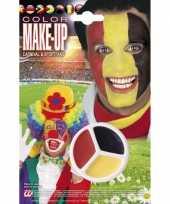 Carnavalskleding supporter schmink rood geel zwart helmond