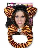 Carnavalskleding tijgerrinnen verkleed setje volwassenen helmond
