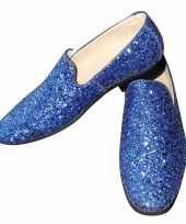 Carnavalskleding toppers blauwe glitter pailletten disco instap schoenen heren helmond