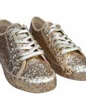 Carnavalskleding toppers gouden glitter disco sneakers schoenen dames helmond