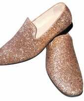 Carnavalskleding toppers gouden glitter pailletten disco instap schoenen heren helmond