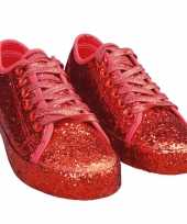 Carnavalskleding toppers rode glitter disco sneakers schoenen dames helmond
