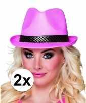 Carnavalskleding toppers trilby hoed roze stuks volwassenen helmond