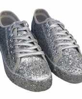 Carnavalskleding toppers zilveren glitter disco sneakers schoenen dames helmond