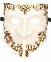 Carnavalskleding venetiaans bauta masker wit helmond