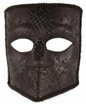 Carnavalskleding venetiaans bauta masker zwart helmond