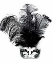 Carnavalskleding venetiaans oogmasker zilver zwarte veren helmond
