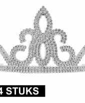 Carnavalskleding verkleed accessoire prinses tiara zilver stuks helmond 10145252