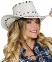 Carnavalskleding verkleed cowboyhoeden elroy wit lederlook helmond