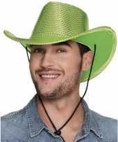 Carnavalskleding verkleed grote cowboyhoeden lime groen pailletten helmond