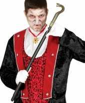 Carnavalskleding verkleed vampier dracula graaf wandelstok slang helmond