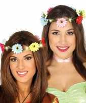 Carnavalskleding verlichte flower power verkleed bloemen krans helmond