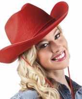 Carnavalskleding vilten cowboyhoed rood helmond