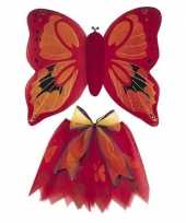 Carnavalskleding vlinder vleugels verkleed set rood kinderen helmond