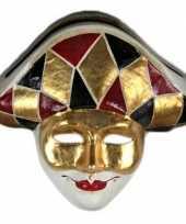 Carnavalskleding wandversiering harlekijn masker helmond