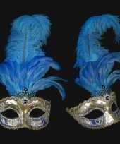 Carnavalskleding wandversiering italiaans blauwe veren oogmasker helmond