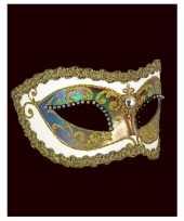 Carnavalskleding wandversiering italiaans oogmasker wit strass helmond