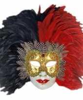 Carnavalskleding wandversiering italiaans veren masker helmond