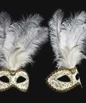 Carnavalskleding wandversiering italiaans veren oogmasker wit helmond