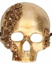 Carnavalskleding wandversiering masker gouden schedel helmond