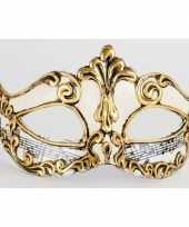 Carnavalskleding wandversiering masker muzieknoten wit helmond