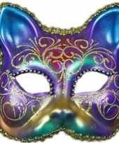Carnavalskleding wandversiering regenboog kat masker helmond