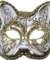 Carnavalskleding wit gouden venetiaans wit gouden katten poezen masker helmond