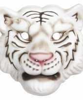 Carnavalskleding wit tijger masker helmond
