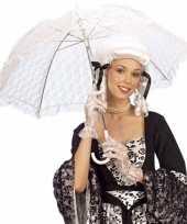 Carnavalskleding witte kanten paraplu dames helmond