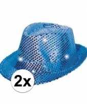 Carnavalskleding x blauwe glitter hoedjes led licht helmond