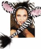 Carnavalskleding zebra verkleed setje volwassenen helmond
