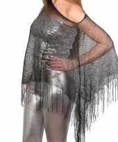 Carnavalskleding zilveren visnet poncho omslagdoek stola dames helmond