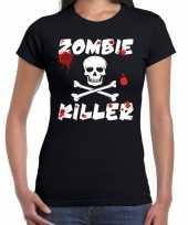 Carnavalskleding zombie killer halloween t-shirt zwart dames helmond