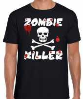 Carnavalskleding zombie killer halloween t-shirt zwart heren helmond