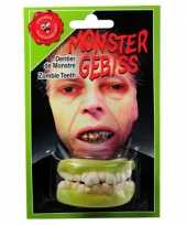 Carnavalskleding zombie tanden boven onder helmond