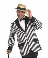 Carnavalskleding zwart wit gestreept heren jasje helmond