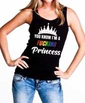 Carnavalskleding zwart you know i am a fucking princess tanktop dames helmond