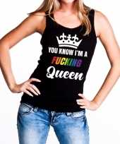 Carnavalskleding zwart you know i am a fucking queen tanktop dames helmond