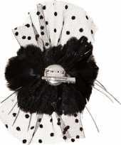 Carnavalskleding zwarte bloemen haarklem gaas helmond